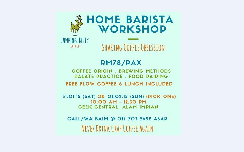 Home Barista Workshop by Jumping Billy Coffee