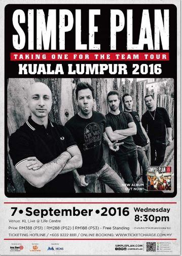 Simple Plan Taking One For The Team Tour Kuala Lumpur 2016